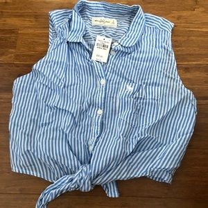 Collared striped Abercrombie & Fitch crop top